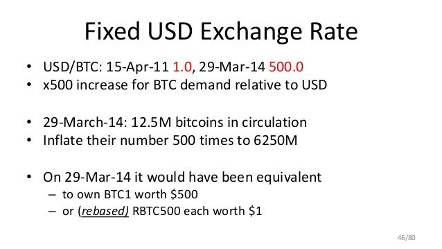Fixed USD Exchange Rate • USD/BTC: 15-Apr-11 1.0, 29-Mar-14 500.0 • x500 increase for BTC demand relative to USD • 29-Marc...