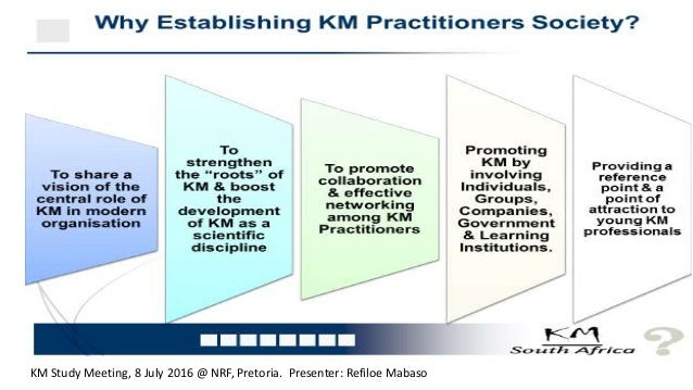 Presentation at the launch event for the South African KM Society