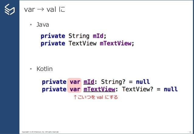 Copyright © 2014 Sansan, Inc. All rights reserved. var → val に 21 • Java • Kotlin ↑こいつを val にする
