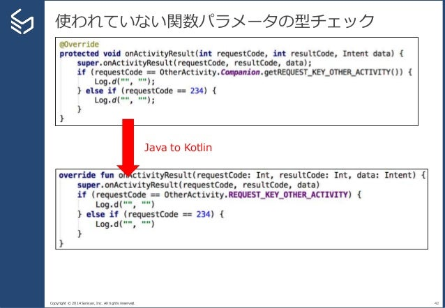 Copyright © 2014 Sansan, Inc. All rights reserved. 使われていない関数パラメータの型チェック 42 Java to Kotlin