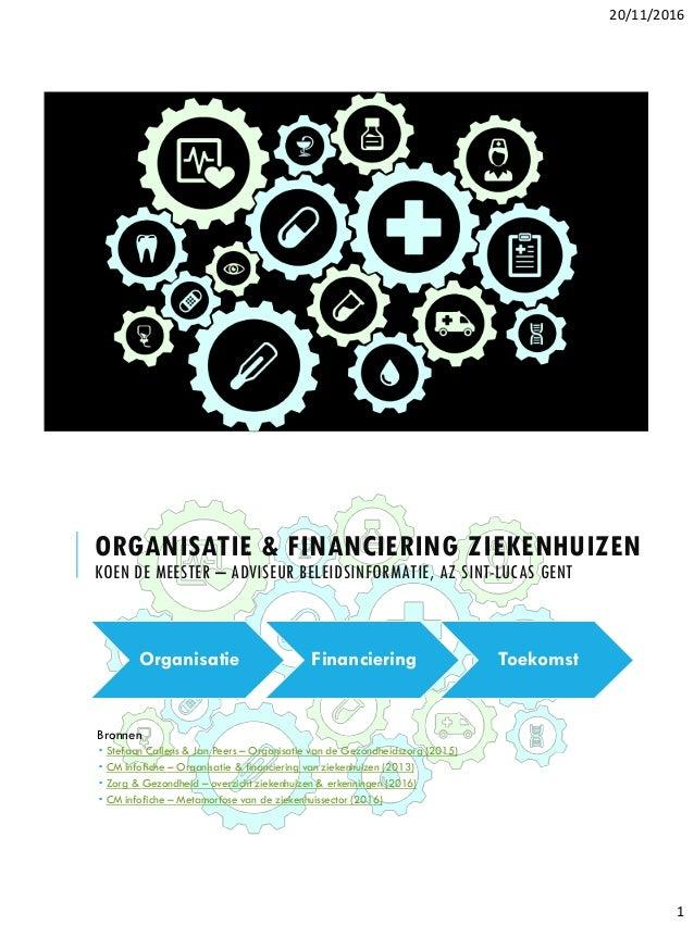 20/11/2016 1 ORGANISATIE & FINANCIERING ZIEKENHUIZEN KOEN DE MEESTER – ADVISEUR BELEIDSINFORMATIE, AZ SINT-LUCAS GENT Bron...
