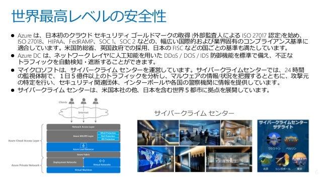  Azure は、日本初のクラウド セキュリティ ゴールドマークの取得 (外部監査人による ISO 27017 認定)を始め、 ISO 27018、HIPAA、FedRAMP、SOC 1、SOC 2 などの、幅広い国際的および業界固有のコンプ...