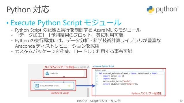 60 Python 対応 • Execute Python Script モジュール • Python Script の記述と実行を制御する Azure ML のモジュール • 「データ加工」「予測結果のプロット」等に利用可能 • Python...