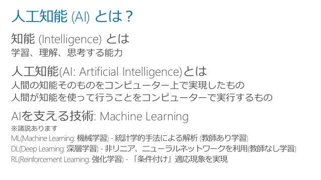 人工知能 (AI) とは? 知能 (Intelligence) とは 人工知能(AI: Artificial Intelligence)とは AIを支える技術: Machine Learning