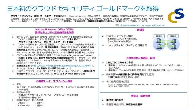 日本初のクラウド セキュリティ ゴールドマークを取得 Microsoft Azure、Office 365が 情報セキュリティ監査の認定を取得 その他の第三者認証・監査 透明性 お客様データ・プライバシー保護 準拠法・裁判管轄  準拠法は日本...