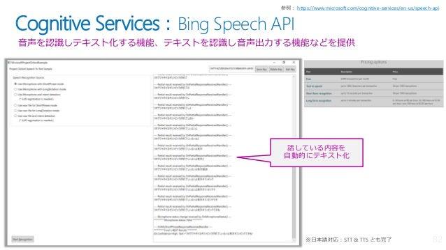 Cognitive Services:Bing Speech API 音声を認識しテキスト化する機能、テキストを認識し音声出力する機能などを提供 https://www.microsoft.com/cognitive-services/en-u...