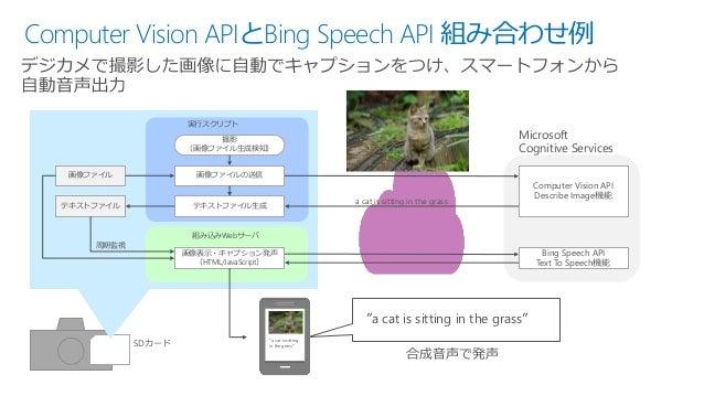 Computer Vision APIとBing Speech API 組み合わせ例 画像ファイル テキストファイル 画像ファイルの送信 テキストファイル生成 撮影 (画像ファイル生成検知) 実行スクリプト 画像表示・キャプション発声 (HTM...