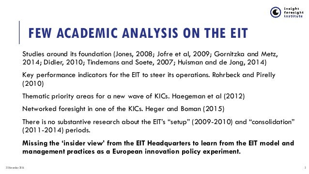 EUROPEAN INSTITUTE OF INNOVATION AND TECHNOLOGY: POLICY EXPERIMENTATION FOR PAN-EUROPEAN INNOVATION ECOSYSTEMS  Slide 3