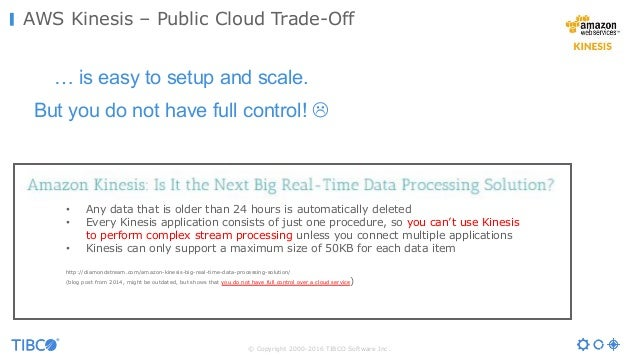 © Copyright 2000-2016 TIBCO Software Inc. AWS Kinesis – Public Cloud Trade-Off … is easy to setup and scale. But you do no...