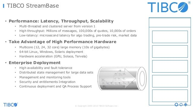 © Copyright 2000-2016 TIBCO Software Inc. TIBCO StreamBase • Performance: Latency, Throughput, Scalability • Multi-threade...
