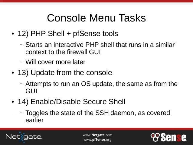 Console Menu - pfSense Hangout December 2016