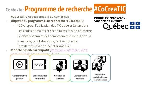 Contexte: Programme de recherche #CoCreaTIC - #CoCreaTIC Usages créatifs du numérique. - Objectif du programme de recherch...