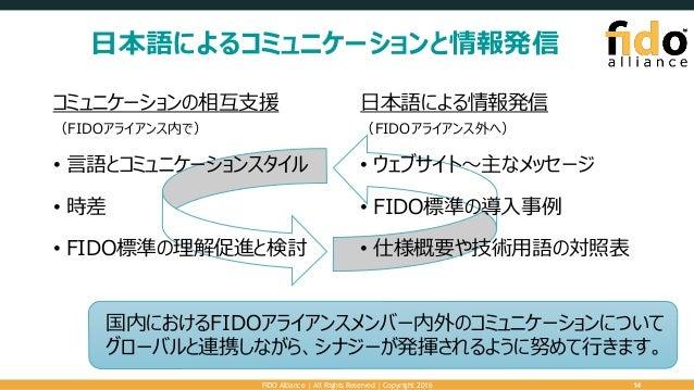 日本語によるコミュニケーションと情報発信 FIDO Alliance   All Rights Reserved   Copyright 2016 14 コミュニケーションの相互支援 (FIDOアライアンス内で) • 言語とコミュニケーションス...