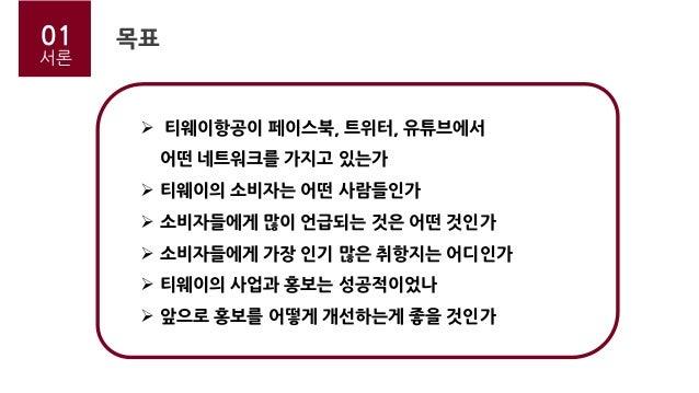 01 서론 목표  티웨이항공이 페이스북, 트위터, 유튜브에서 어떤 네트워크를 가지고 있는가  티웨이의 소비자는 어떤 사람들인가  소비자들에게 많이 언급되는 것은 어떤 것인가  소비자들에게 가장 인기 많은 취항지는...
