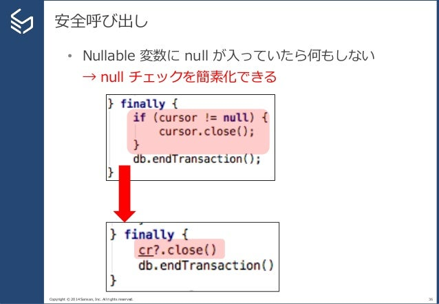 Copyright © 2014 Sansan, Inc. All rights reserved. 安全呼び出し 36 • Nullable 変数に null が入っていたら何もしない → null チェックを簡素化できる