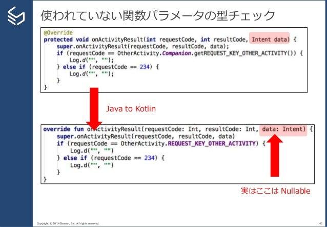 Copyright © 2014 Sansan, Inc. All rights reserved. 使われていない関数パラメータの型チェック 42 Java to Kotlin 実はここは Nullable