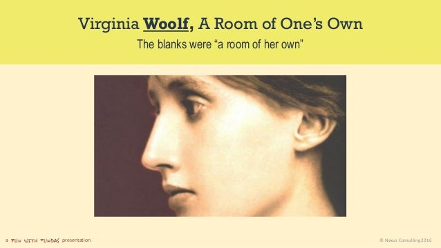 """a presentation © Nexus Consulting 2016 Virginia Woolf, A Room of One's Own The blanks were """"a room of her own"""""""