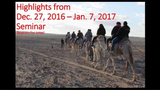 Highlights from Dec. 27, 2016 – Jan. 7, 2017 Seminar Baptists for Israel