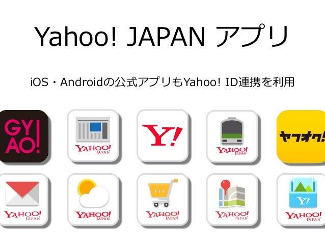 Yahoo! ID連携 契約なしで  Yahoo! JAPAN ID があれば  無料料で誰でも 利利⽤用できる! 認証機能  より簡単なAPIへの アクセス  属性情報取得機能