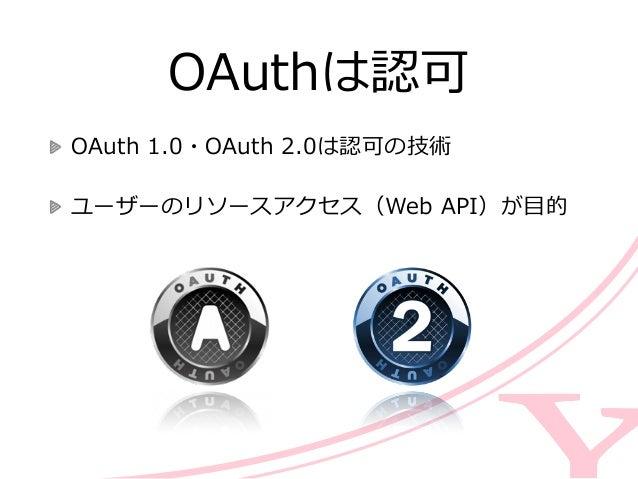 認証も認可もやりたい場合は    OpenIDもOAuthも実装しなくてはいけない  そこで実装しやすいOAuth 2.0を拡張して                認証機能を追加 認証も認可も 認可認...