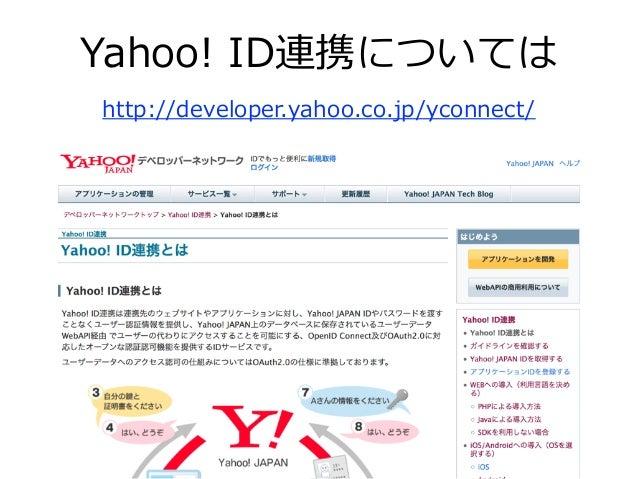 ぜひYahoo! ID連携と  Yahoo! JAPANのAPIを  ご利利⽤用ください