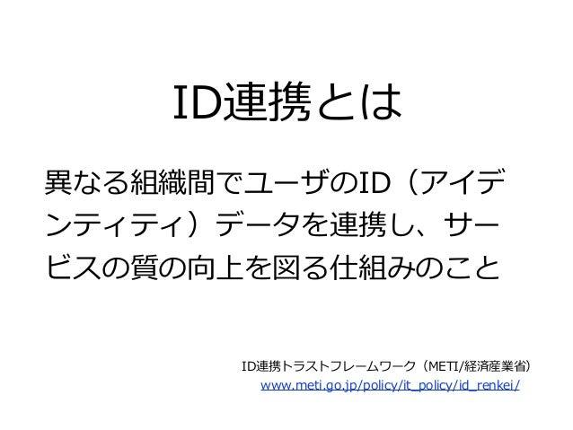 ID連携とは 異異なる組織間でユーザのID(アイデ ンティティ)データを連携し、サー ビスの質の向上を図る仕組みのこと ID連携トラストフレームワーク(METI/経済産業省省)  www.meti.go.jp/policy/it_̲polic...