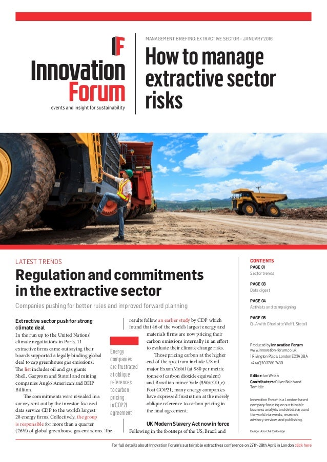 Extractive sector push for strong climate deal In the run up to the United Nations' climate negotiations in Paris, 11 extr...