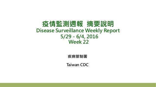 疫情監測週報 摘要說明 Disease Surveillance Weekly Report 5/29-6/4, 2016 Week 22 疾病管制署 Taiwan CDC