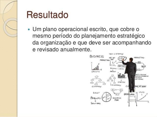 Resultado  Um plano operacional escrito, que cobre o mesmo período do planejamento estratégico da organização e que deve ...