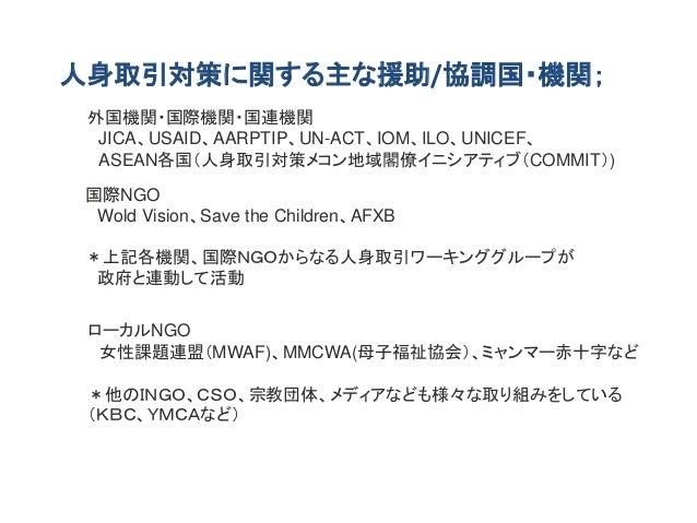 人身取引対策に関する主な援助/協調国・機関; 外国機関・国際機関・国連機関 JICA、USAID、AARPTIP、UN-ACT、IOM、ILO、UNICEF、 ASEAN各国(人身取引対策メコン地域閣僚イニシアティブ(COMMIT)) 国際NG...