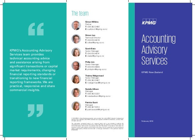 2016 Accounting Advisory Services Brochure Kpmg Nz