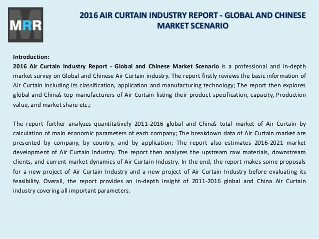 2016 air curtain industry report global and chinese market scenario