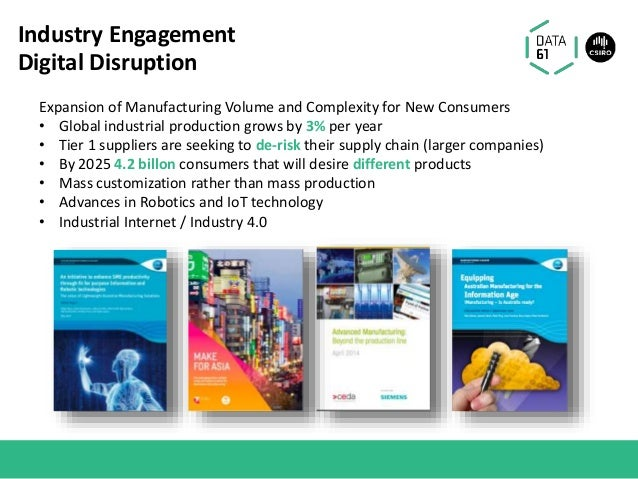 Industry Engagement Digital Disruption Expansion of Manufacturing Volume and Complexity for New Consumers • Global industr...