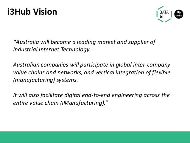 """i3Hub Vision """"Australia will become a leading market and supplier of Industrial Internet Technology. Australian companies ..."""