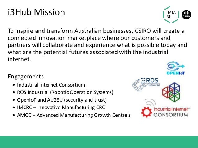 i3Hub Mission To inspire and transform Australian businesses, CSIRO will create a connected innovation marketplace where o...