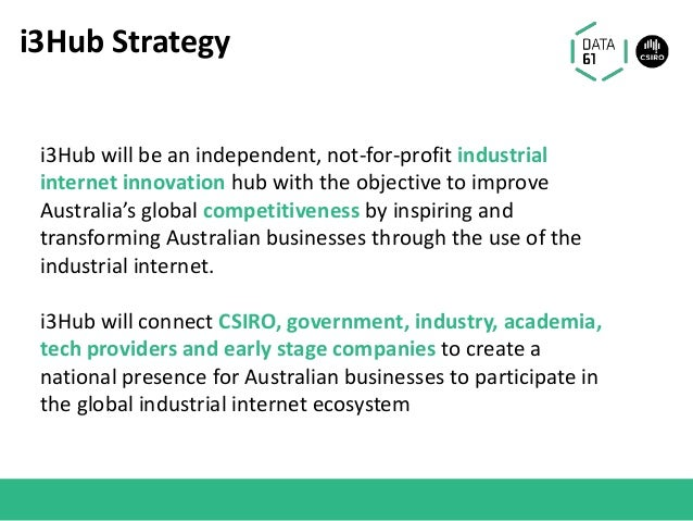 i3Hub Strategy i3Hub will be an independent, not-for-profit industrial internet innovation hub with the objective to impro...