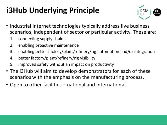 i3Hub Underlying Principle • Industrial Internet technologies typically address five business scenarios, independent of se...