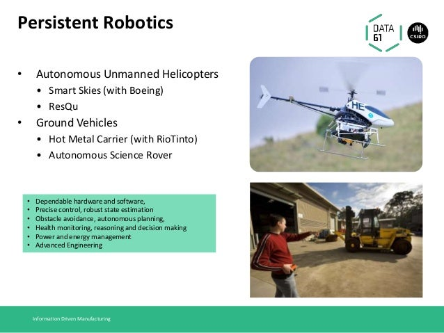 Persistent Robotics • Autonomous Unmanned Helicopters • Smart Skies (with Boeing) • ResQu • Ground Vehicles • Hot Metal Ca...
