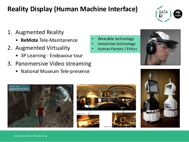 Reality Display (Human Machine Interface) 1. Augmented Reality • ReMote Tele-Maintanence 2. Augmented Virtuality • 3P Lear...