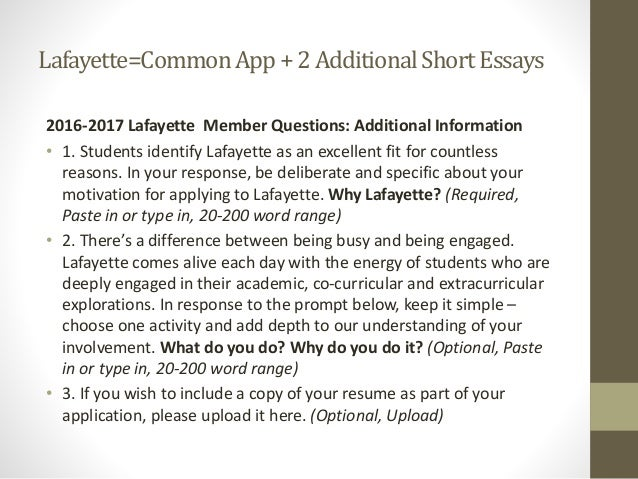 Essays And Term Papers Lafayette College  Lafayettecommonapp  The Benefits Of Learning English Essay also Example Of A Good Thesis Statement For An Essay Getting To Know You The Purpose Of Each College Application Essay English Language Essay Topics