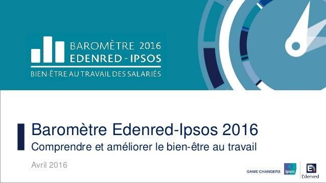 Baromètre Edenred-Ipsos 2016 Comprendre et améliorer le bien-être au travail Avril 2016