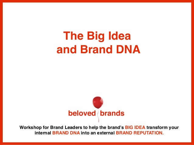 Workshop for Brand Leaders to help the brand's BIG IDEA transform your internal BRAND DNA into an external BRAND REPUTATIO...