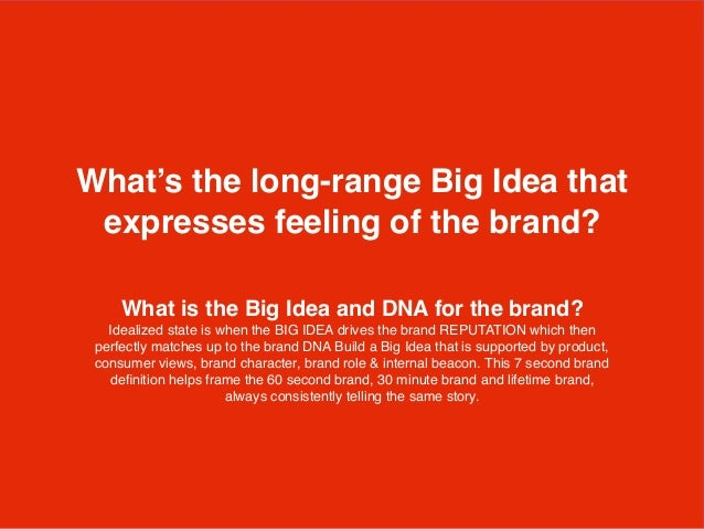 What is the Big Idea and DNA for the brand? Idealized state is when the BIG IDEA drives the brand REPUTATION which then pe...