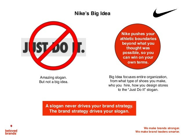 We make brands stronger. We make brand leaders smarter. Nike's Big Idea Nike pushes your athletic boundaries beyond what y...