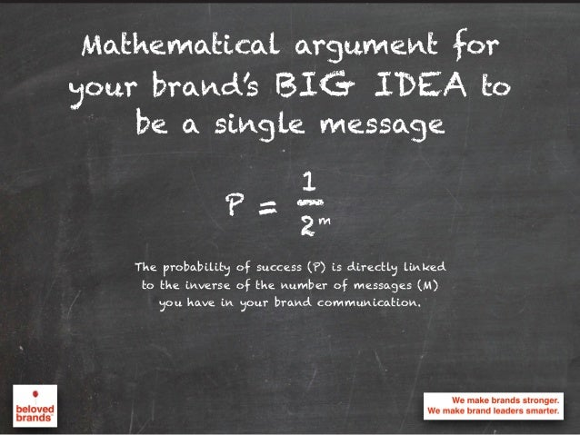 Mathematical argument for your brand's BIG IDEA to be a single message The probability of success (P) is directly linked t...