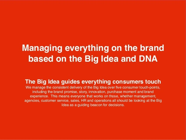 The Big Idea guides everything consumers touch We manage the consistent delivery of the Big Idea over five consumer touch-p...