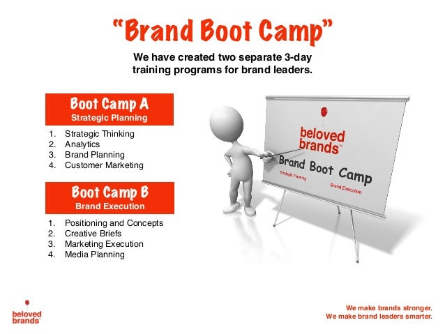 """We make brands stronger. We make brand leaders smarter. """"Brand Boot Camp"""" We have created two separate 3-day training prog..."""