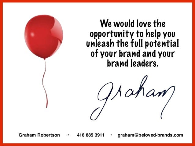 We would love the opportunity to help you unleash the full potential of your brand and your brand leaders. Graham Robertso...