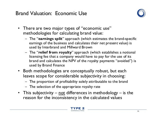 """P3 Brand Valuation: Economic Use • There are two major types of """"economic use"""" methodologies for calculating brand value:..."""