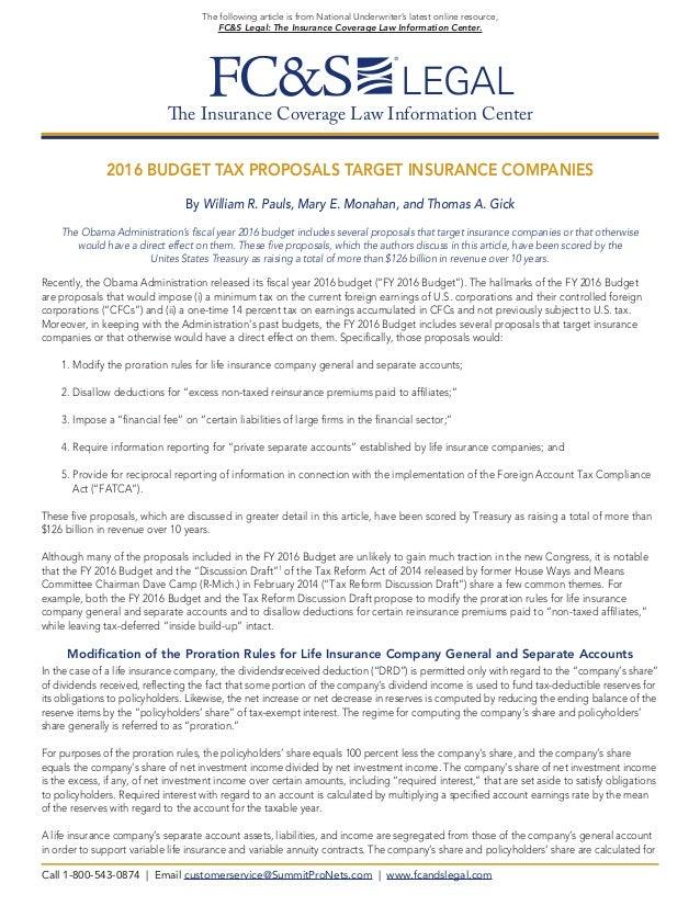 2016 Budget Tax Proposals Target Insurance Companies